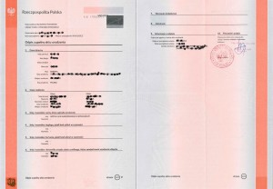 Complete copy of the birth certificate from Poland, Full copy of birth certificate (long form) from Poland