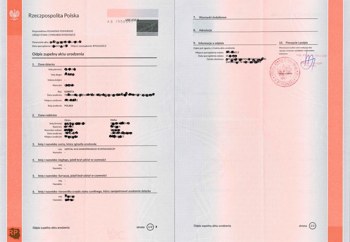 How to obtain documents from the polish civil registry office complete copy of the birth certificate from poland full copy of birth certificate long xflitez Gallery