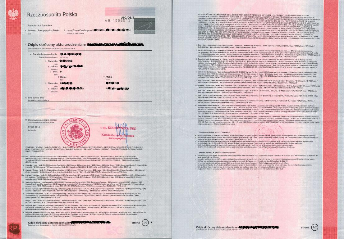 How to obtain documents from the polish civil registry office multilingual abridged copy of birth certificate from poland international birth certificate from poland aiddatafo Images
