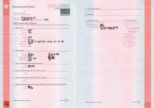 Full copy of birth certificate (long form) from Poland, Copy of full birth certificate from Poland, Complete copy of the birth certificate from Poland - Full copy of the birth certificate from Poland