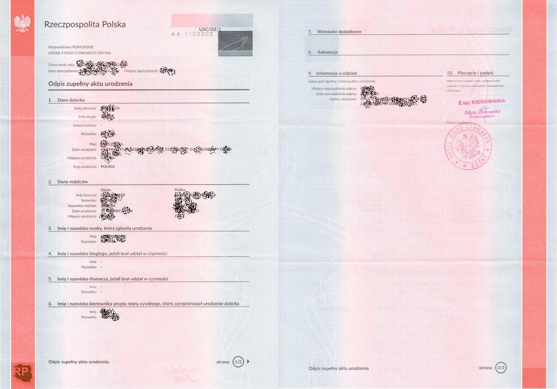 How to get a complete copy of the birth certificate from poland full copy of birth certificate long form from poland copy of full birth aiddatafo Image collections