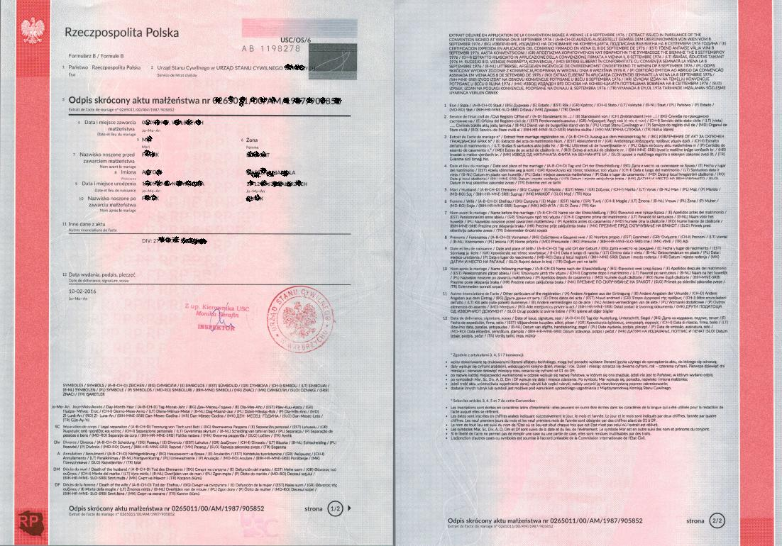 Marriage abroad a birth certificate from poland documents marriage certificate from poland an abridged copy of the marriage certificate from poland extract xflitez Images